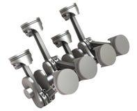 Pistons & cranckshaft. 3D illustration of pistons and crankshaft on white background witouth shadow Stock Photos