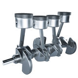 Pistons crankshaft. 3d pistons and crankshaft of engine on white background Royalty Free Stock Photo