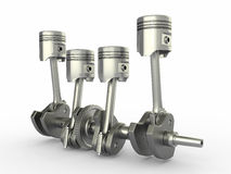 Pistons and crankshaft. four cylinder engine. Royalty Free Stock Images