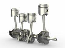 Pistons and crankshaft. four cylinder engine. royalty free illustration