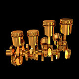 Pistons and Crankshaft isolated on black background ( V8 Engine). High resolution Royalty Free Stock Images