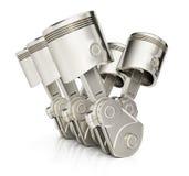 Pistons du moteur V6 Photographie stock libre de droits