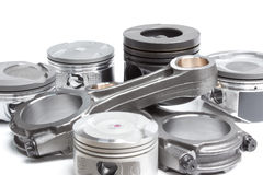 Pistons et bielles, pièces principales pour un moteur à combustion interne images stock