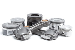 Pistons et bielles, pièces principales pour un moteur à combustion interne images libres de droits