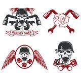 Pistons,flowers,wings,snakes and skulls. Biker theme labels with pistons,flowers,wings,snakes and skulls Royalty Free Stock Photography