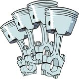 Pistons group. Four pistons from engine of internal combustion Stock Photo