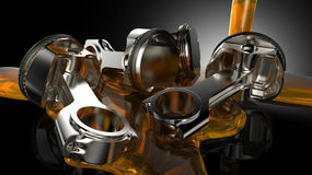 Pistons Oil. Engine Oil flowing over engine pistons Royalty Free Stock Image