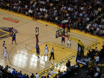 Pistons player shots free throw shoot with ball in the air Stock Photos