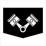 Pistons and rods icon. Conrods sign. Vehicle engine parts symbol. Vector illustration Stock Photos