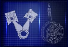 Pistons and wheel with shock absorber on a blue. Background. 3d model Stock Photos
