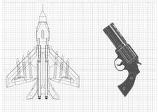 Pistool en vechter stock illustratie