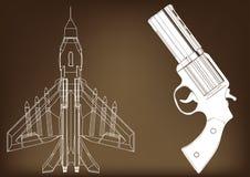 Pistool en vechter vector illustratie