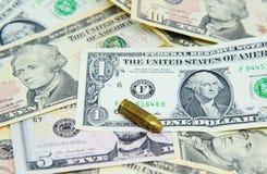 Pistool op dollarbankbiljetten Stock Foto