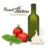 Pistou franska Herb Sauce, söt basilika, tomater Arkivbild