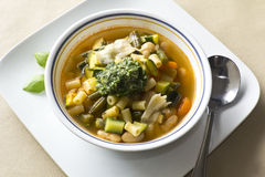 Pistou Soup. Soupe au pistou, French vegetable soup with pesto and basil Royalty Free Stock Photography