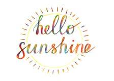Piszący list cześć światło słoneczne handdrawn z barwionym penci, zdjęcia stock