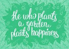 Piszący list On który zasadza ogrodowych rośliien szczęście również zwrócić corel ilustracji wektora Obrazy Royalty Free