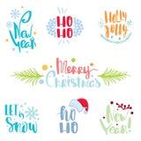 Piszący list ustalonych Wesoło boże narodzenia, Szczęśliwy nowy rok, holly Byczy ilustracja wektor