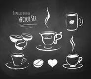 Piszący kredą kawa set Fotografia Stock