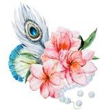pisze kwiaty ja obrazu obrazka akwarela ilustracja wektor