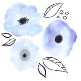 pisze kwiaty ja obrazu obrazka akwarela Zdjęcia Stock