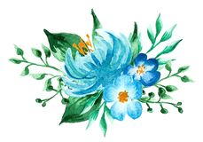 pisze kwiaty ja obrazu obrazka akwarela ręka malujący kolorowy skład Bukiet na biały background fotografia royalty free