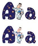 Pisze list A astronauta Obrazy Royalty Free