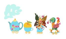 Pisze list A, b, C Ślicznej kreskówki angielski abecadło z kolorowym wizerunkiem Teapot i filiżanka pociąg royalty ilustracja