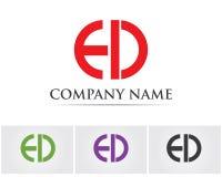 Pisze list e d loga szablonu ikony Zdjęcie Royalty Free