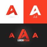 Pisze list A loga projekta ikony ustalonego tło Obrazy Stock