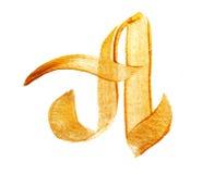 Pisze list A z złocistym akrylowej farby muśnięciem Fotografia Royalty Free