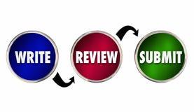 Pisze przeglądzie Przedkłada Writing Proces sukces Obraz Stock