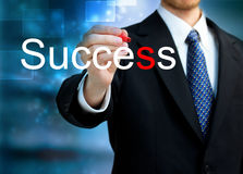 Pisze słowo Sukcesie młody biznesowy mężczyzna Zdjęcia Royalty Free
