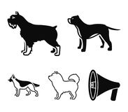 Pit bull, german shepherd, chow chow, schnauzer. Dog breeds set collection icons in black style vector symbol stock. Illustration Stock Image
