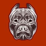 Pit bull head linear logo. Image for design covers,greeting cards,postcards,flyers,logos Stock Images