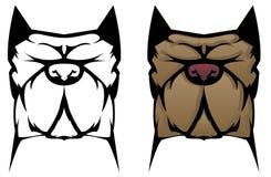 Pit Bull Illustration. Pit Bull Dog cartoon tattoo stock illustration