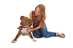 Pit Bull and Teenage Girl Interacting Royalty Free Stock Photo