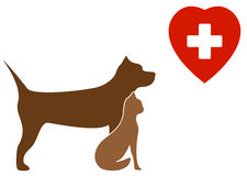 Pit bull terrier dog, cat and veterinary sign Stock Photos