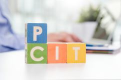 PIT and CIT words with colorful blocks. Stock Photography