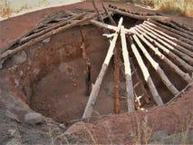 Pit House på den Anasazi delstatsparken och museet Arkivfoto