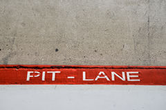 Pit Lane entrance in car competition stock photos