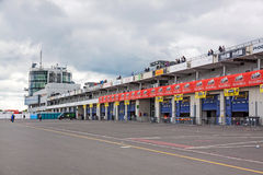 Pit lane, Nurburgring speedway, Germany Stock Photo