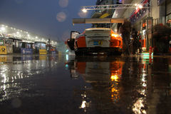 Pit lane in the rain. Royalty Free Stock Photography