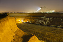Pit Mine Wall At Night Stock Images