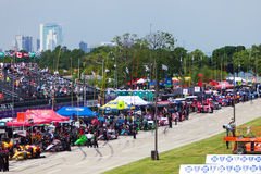 Pit Row Detroit grand prix 2013 Arkivbild