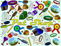 Pit shop vector. Vector line art Doodle set of cartoon characters and objects pit shop Royalty Free Stock Image