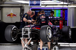 Pit stop garage of team Red Bull Racing-Renault Royalty Free Stock Images