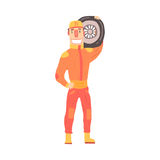 Pit stop technician worker in an orange uniform holding car wheel, member of racing team vector Illustration. Isolated on a white background Stock Photography