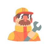 Pit stop technician worker in an orange uniform with wrench, member of racing team vector Illustration. Isolated on a white background Royalty Free Stock Image