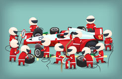 Pit stop workers. Colorful illustration with pit stop workers and engineers maintaining technical service for a racing car during a motor racing event Stock Photos